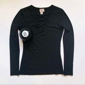 Black Lace Up Shirt